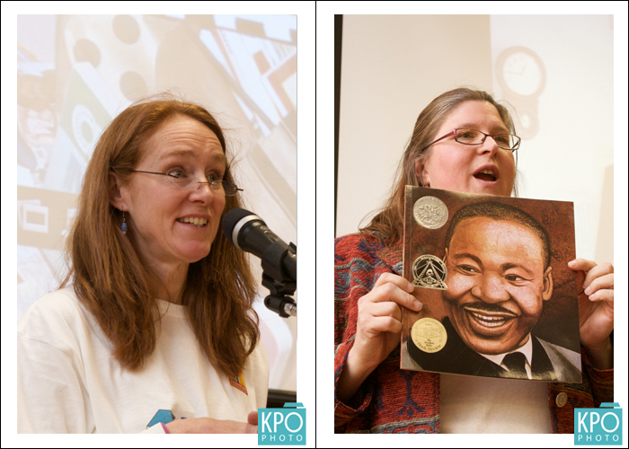 Left, Ginger Young addresses the crowd. Right, Sarah Carr reads a book about Dr. King.