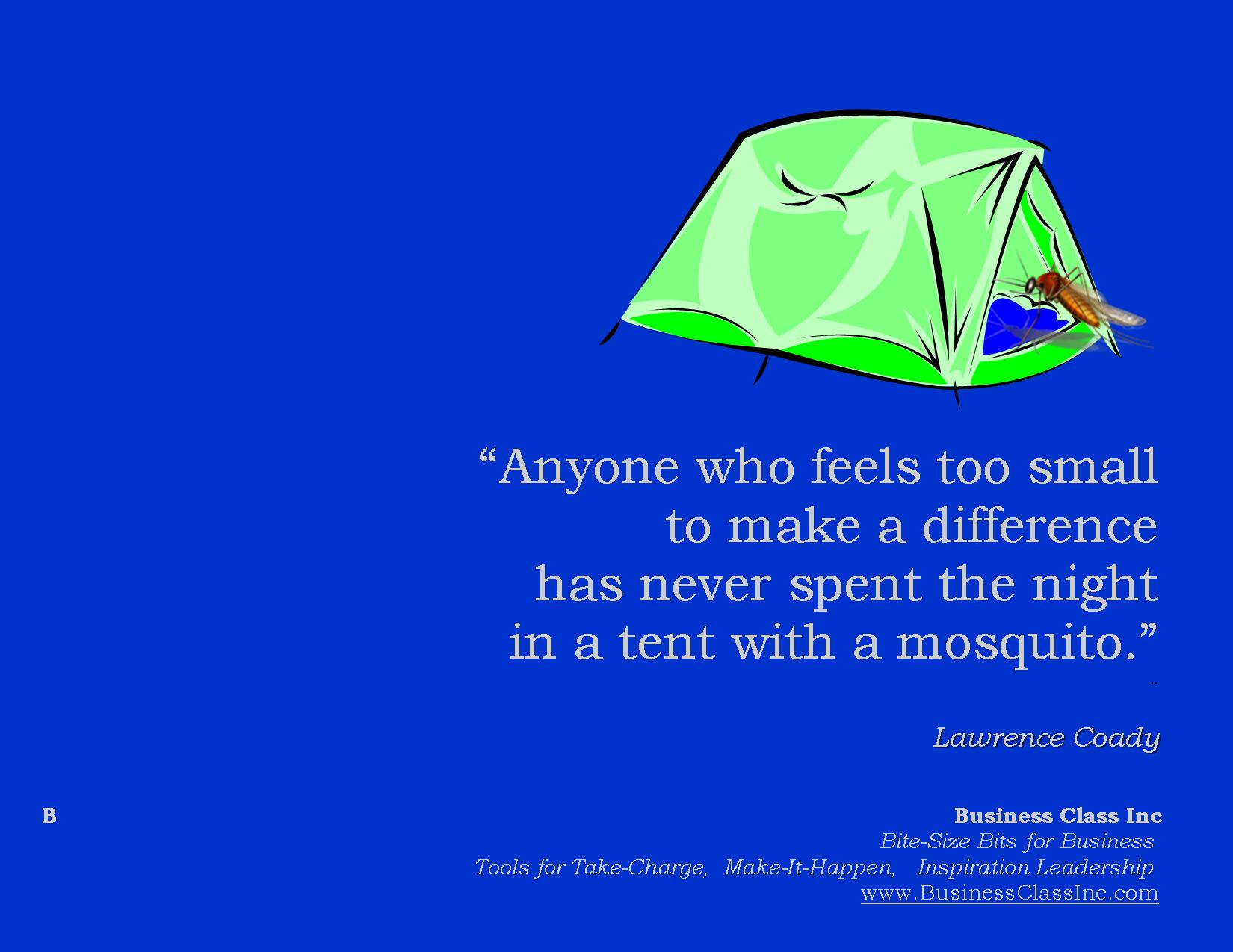 Anyone who feels too small to make a difference has never spend the night in a tent with a mosquito.