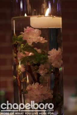 The centerpieces included seasonal cherry blossoms