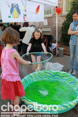 Lula McCoy and Phoebe Alice try their hand at making a giant bubble