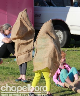 Somehow the sack races took a backwards turn!