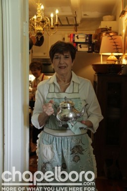 Pat Lopp with her mother's silver teapot