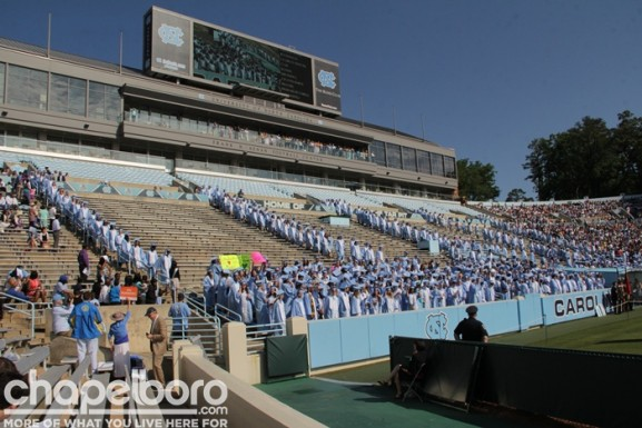 The graduates file-in to Kenan Stadium