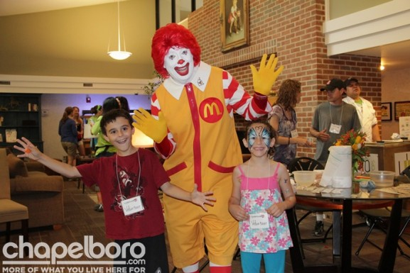 Colten Lewis and Oliva Irene with Ronald McDonald