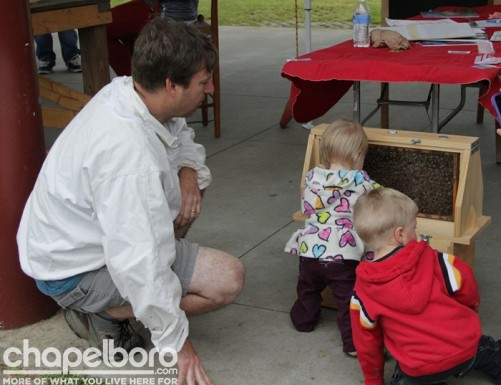 Marty Hanks of Just Bee Apiary brought honey bees for the kids to see