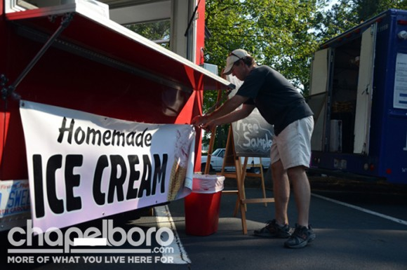 Tony Schwartz of Tar Heel Creamery sets up his truck for the rodeo.