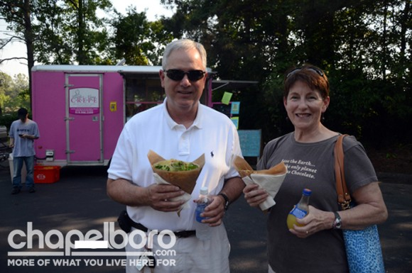 Mike and Tish Galu enjoy savory crepes from Parlez-Vous Crepe!
