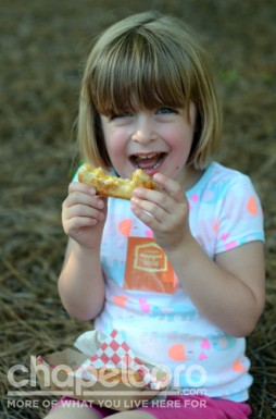 Nora Cirella enjoys a sandwich from American Meltdown.
