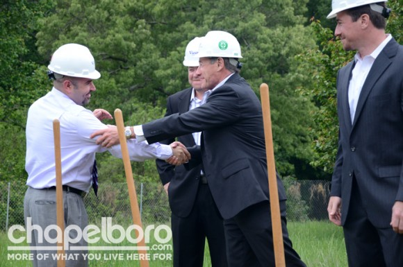 Aaron Nelson, President of Chapel Hill's Chamber of Commerce, and Michael King, CEO of Trinitas Ventures, celebrate the ground breaking and the new bonds of friendship formed.