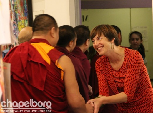 Amy Keenan-Amago welcomes the Tibetan Monks to ArtCenter