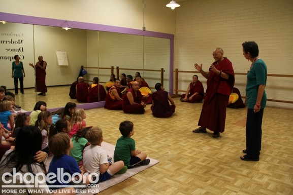 Rinah Rachel Galper introduces Lobzang Chetan the other Tibetan Monks to the class