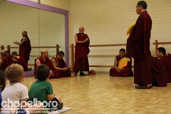 The Tibetan Monks demonstated their system of debating an issue without fighting