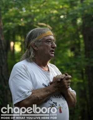 Gaines Steer leads the ceremony to inaugurate the medicine wheel