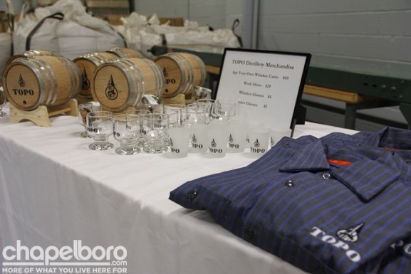 Some of the merchandise available for sale at the TOPO Distillery