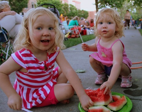 Lizzie Anne and Abagail Joy enjoyed their watermelon