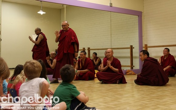 The Tibetan Monks wished the children well before leaving