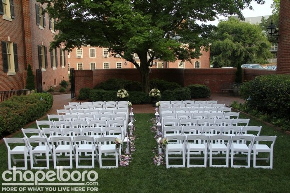 The courtyard was styled for an outdoor wedding