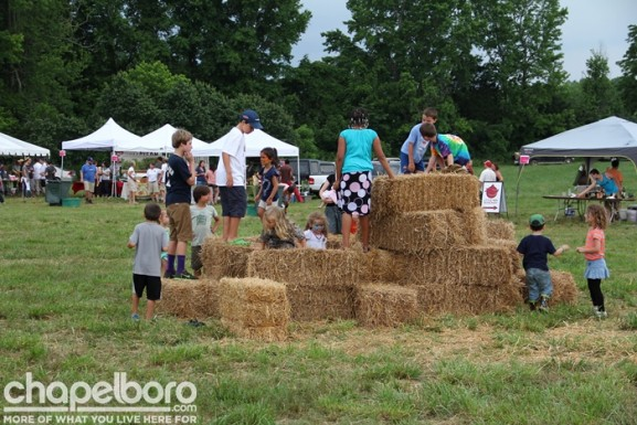 The kids enjoyed making forts out of the hay bales