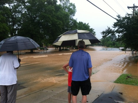Flooding at Estes/University Mall; Photo by Rachel Nash