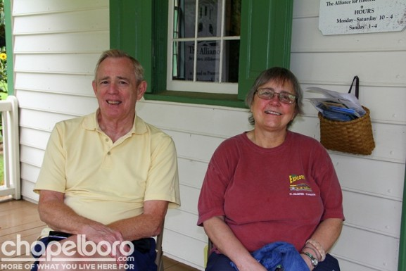 Daniel Kelley and Nancy Applegate enjoyed the front porch of the Visitor's Center