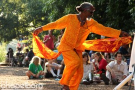 Bruce Thomas is famous for dancing at Weaver Street Market-