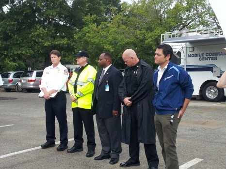 Local officials gather to detail flood recovery efforts.
