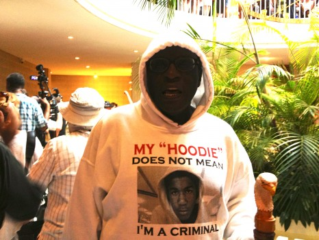 Protester recognizing Trayvon Martin