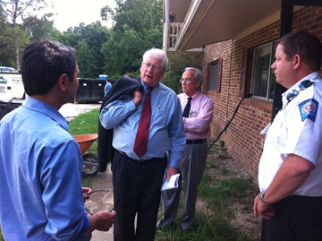 Congressman David Price joined by Mayor Mark Kleinschmidt (L) Town Manager Roger Stancil (CR) and Emergency Management Coordinator Robert Bosworth (R).