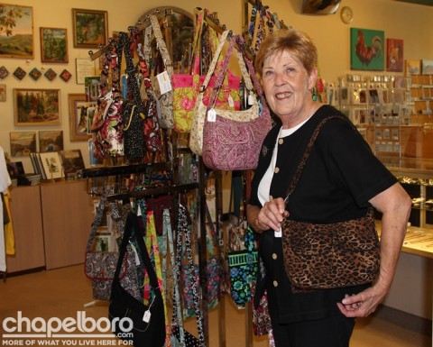 Alice Mogle with her quilted handbags