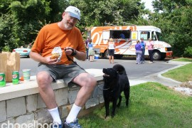 Bill Adney and Wilson couldn't resist a stop at the Only Burger truck!