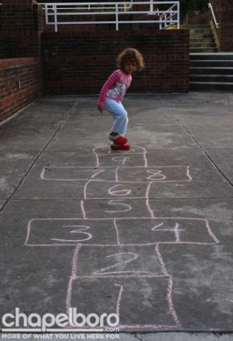 Who could resist a game of hopscotch?