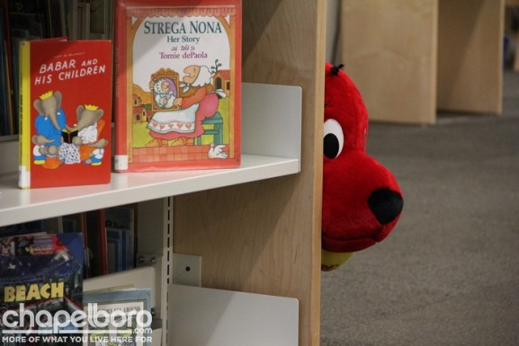 Clifford, the Big Red Dog, can be found anytime in the Children's area of the library!