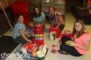 Jennifer Miller, Agnes Bernasconi, Laura Harris and Gretchen Pegram were organized shoppers at the Teacher Supply Store!