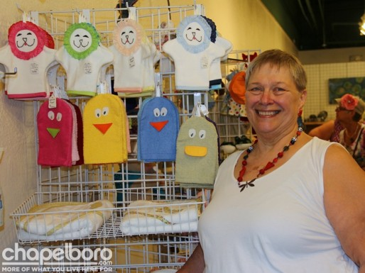 Paula Mattocks with her oh so cute bath mitt puppets and towels!