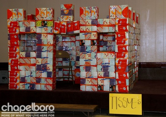 The volunteers built a castle with all the boxes of donated tissues!