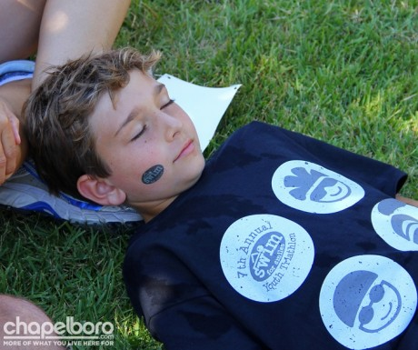 Alec Nolet decided to take a little nap after the triathlon!
