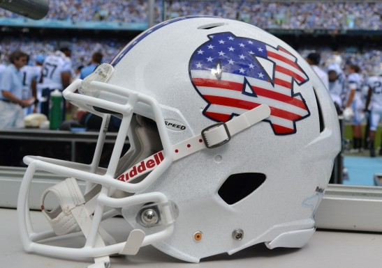 UNC's Military Appreciation helmets