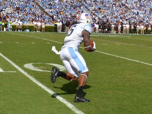 UNC's TJ Thorpe returns a second-half kick.
