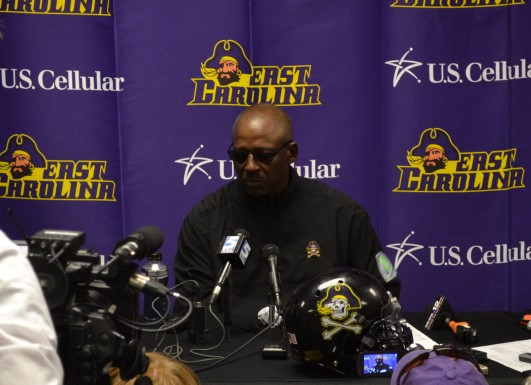 ECU Head Coach Ruffin McNeill address the media.