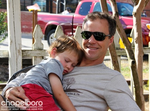 Max Wilterberger couldn't resist a little nap on his dad, Tom Wilterberger