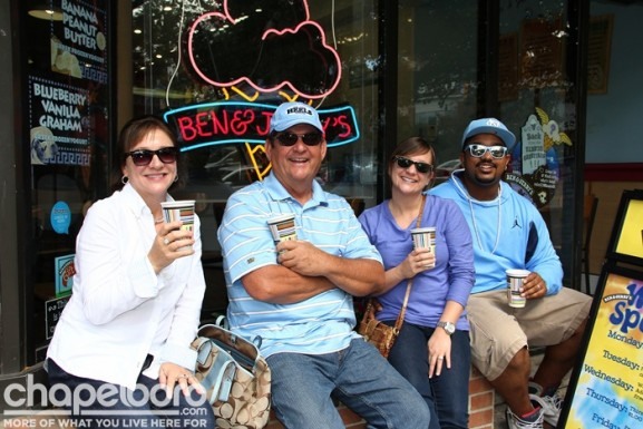 Terry Liles, Eddie Liles, Katie Liles-McBroom and Antonio McBroom were relaxing outside Ben and Jerry's