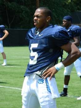 UNC Football- TJ Thorpe at practice warming up