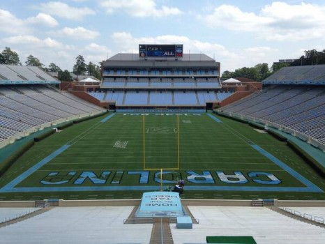 UNC Football field with argyle end zones
