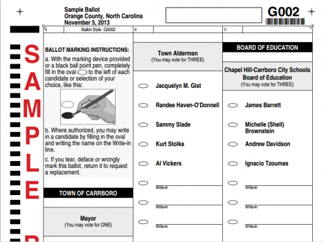 2013 Carrboro Sample Ballot