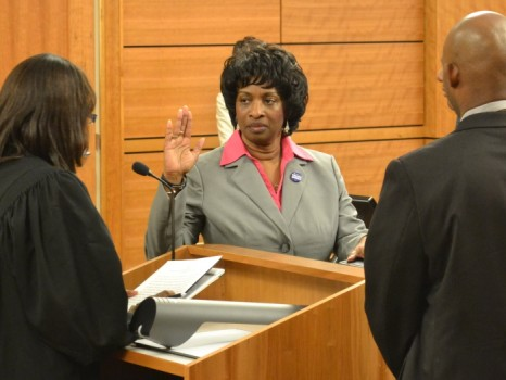 Valerie Foushee taking oath of office for NC Senate Dist. 23