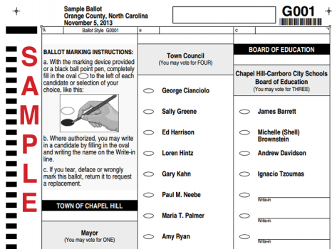 2013 Chapel Hill sample ballot
