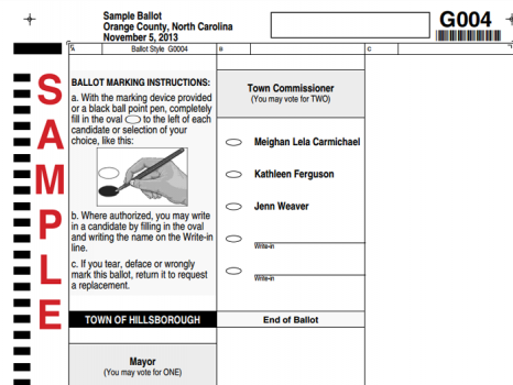 2013 Hillsborough Sample Ballot
