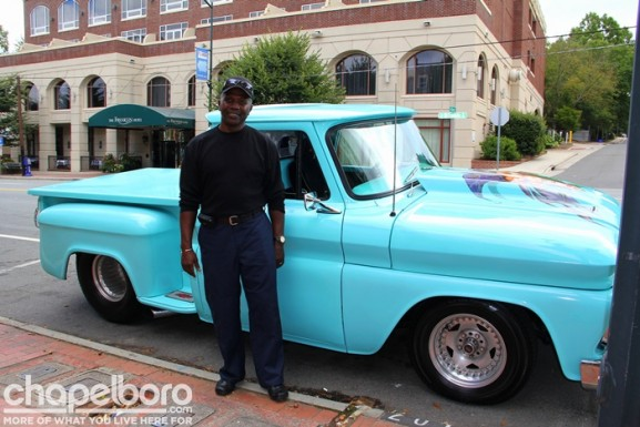 Billy Gregory with his custom-painted 1966 Chevy.