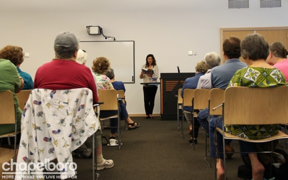There was a large crowd at the library to hear Jill McCorkle speak!