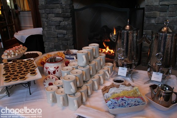 Who could resist this dessert table by the fire?